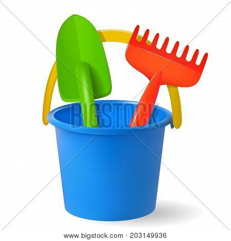 toys for sandbox. Baby bucket rake scapula. Colored objects on white background. Vector illustration