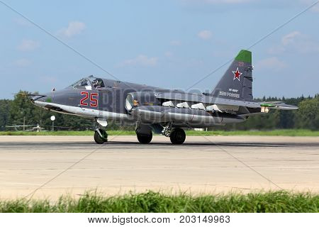 Kubinka, Moscow Region, Russia - July 2, 2013: Sukhoi Su-25SM RF-93037 of russian air force taking off after modernization at Kubinka air force base.