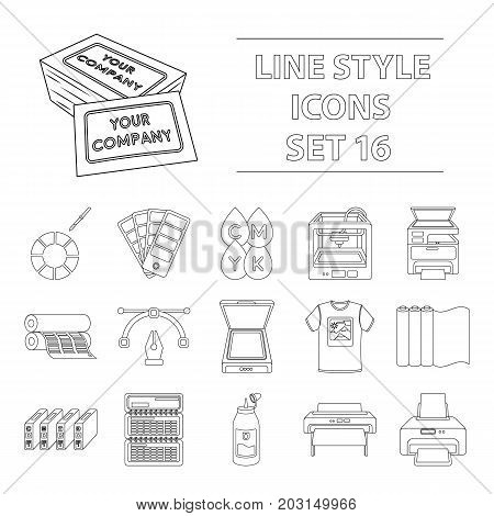 Typography set icons in outline style. Big collection of typography vector symbol stock
