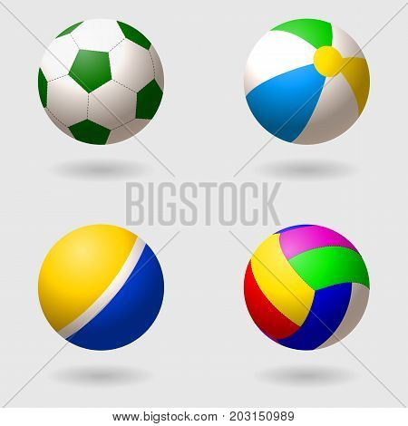 Set of children s balls for different games. Football volleyball inflatable beach ball and rubber palatial ball. Isolated objects. Vector illustration