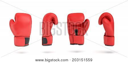 3d rendering of a red right boxing glove in four different angle views. Sports accessories. Fighting class. Exercise and self-defense.