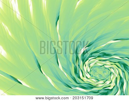 Green abstract fractal background. Colored waves mixing in a whirl. Modern digital art. Creative graphic template. Professional style. For layouts projects skins designs covers advertising etc