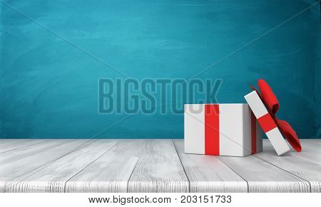 3d rendering of a open white gift box with a red bow standing on a wooden desk in front of a blue background. Gifts and surprises. Special bonus. One time offer.