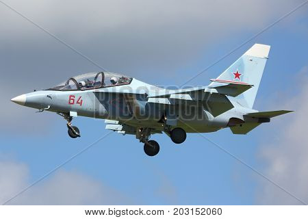 Kubinka, Moscow Region, Russia - June 9, 2015: Yakovlev Yak-130 RF-44579 of russian air force landing at Kubinka air force base during Army-2015 forum