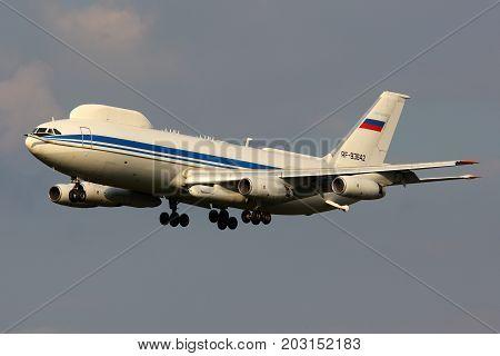 Chkalovsky, Moscow Region, Russia - June 3, 2015: Ilyushin Il-86VKP RF-93642 of Russian Air Force landing at Chkalovsky.