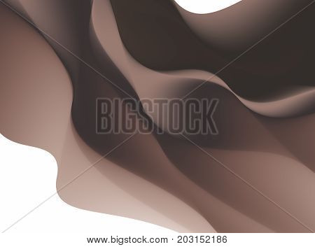 Brown abstract fractal background. Colorful waves like a veil scarf or chocolate on white backdrop. Modern digital art. Creative graphic template. Professional style. For layouts projects covers
