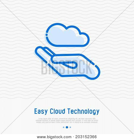 Hand with cloud, concept of easy cloud technology thin line icon. Simple vector illustration of server storage, cloud management.
