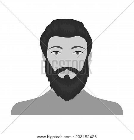 The face of a man with a beard and mustache. Face and appearance single icon in monochrome style vector symbol stock illustration .