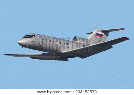 Vnukovo, Moscow Region, Russia - October 16, 2015: Yakovlev Yak-40K RA-87227 of Barkol Airlines taking off at Vnukovo international airport.