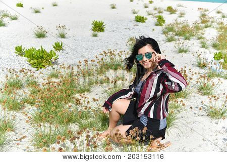 Portrait Of Happy Beautiful Girl At Sand Bank Island,maldives. Travel And Vacation Time Concept