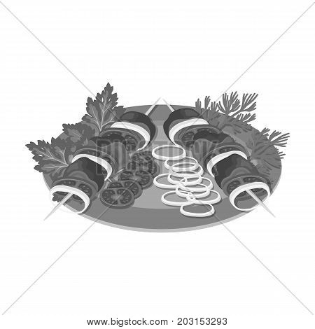 Delicious food, shish kebab and salad. Food and cooking single icon in monochrome style vector symbol stock illustration .