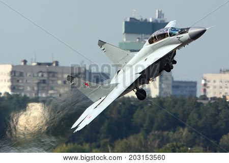 Zhukovsky, Moscow Region, Russia - August 11, 2012: Mikoyan Gurevich MiG-35 of russian air force shown at 100 years anniversary of Russian Air Forces in Zhukovsky