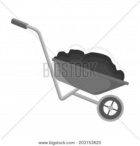 Wheelbarrow, single icon in monochrome style.Wheelbarrow vector symbol stock illustration .