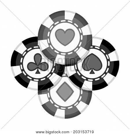 Chips single icon in monochrome style.Chips vector symbol stock illustration .