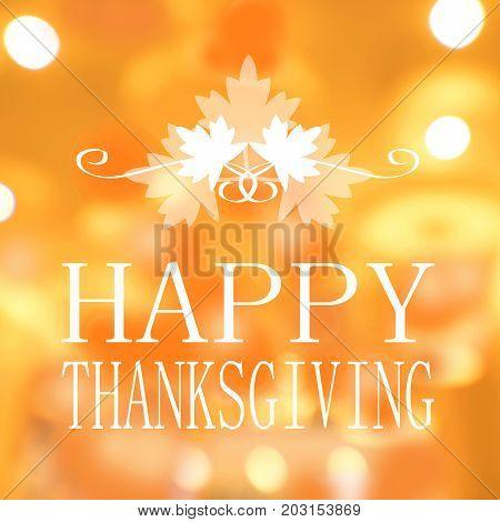 Happy Thanksgiving banner Autumn blur background. card