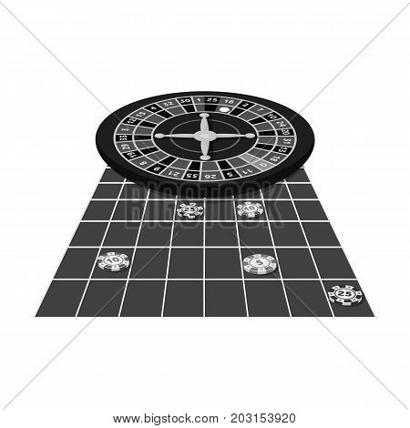 Roulette, single icon in monochrome style.Roulette, vector symbol stock illustration .