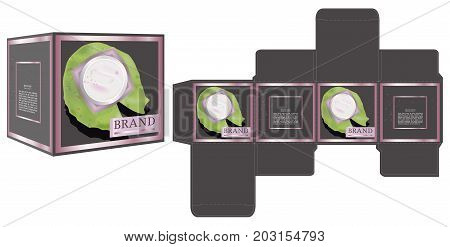 Packaging design, top view of skin care container on lotus leaf, box design template and mockup box. Illustration vector