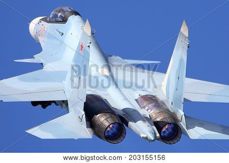 Kubinka, Moscow Region, Russia - June 9, 2015: Sukhoi Su-30SM RF-95003 of russian air force takes off at Kubinka air force base.