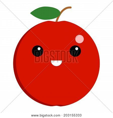 Apple grinning face emoji vector illustration. Flat style design. Colorful graphics