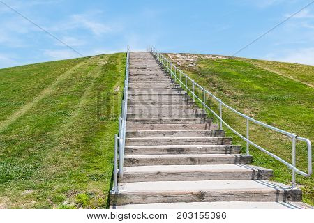 The steep stairway to the top of Mount Trashmore in Virginia Beach, Virginia.  A former landfill on the site was converted to a city park in 1974.
