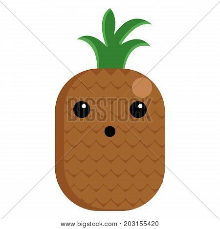 A pineapple face with open mouth vector illustration. Flat style design. Colorful graphics
