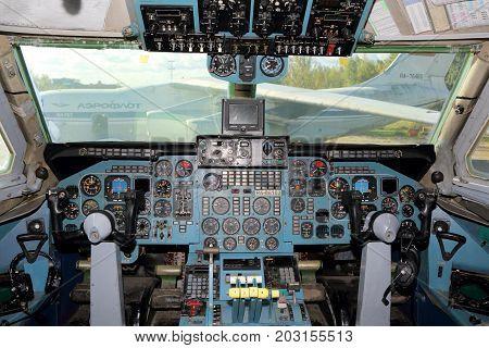 Sheremetyevo, Moscow Region, Russia - October 3, 2015: Cockpit of Aeroflot Ilyushin IL-86 RA-86103 at Sheremetyevo international airport.