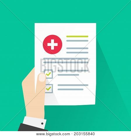 Medical results vector illustration, flat cartoon paper document with health check analysis and good result, patient hand holding medical record information