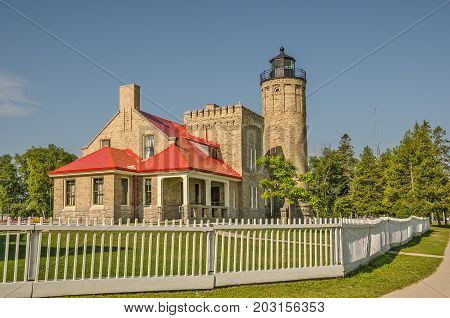 Old Mackinac Point Lighthouse first had its light displayed on October 25 1892. It was in operation until 1958.
