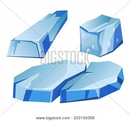 Blue transparent uneven glaciers pieces isolated cartoon vector illustrations set on white background. Massive natural frozen water pieces. Huge smooth cold ice segments from North and South Poles.