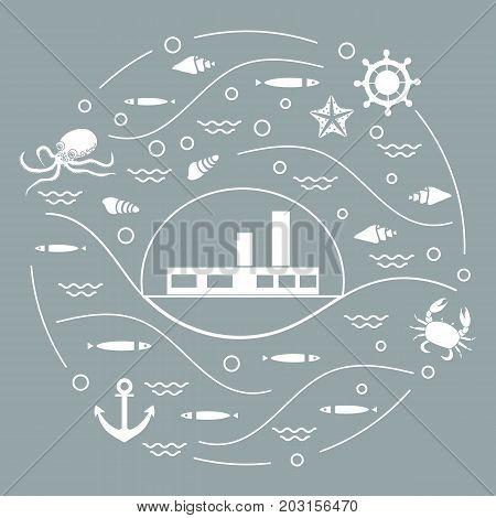 Cute Vector Illustration With Ship, Octopus, Fish, Anchor, Helm, Waves, Seashells, Starfish, Crab Ar