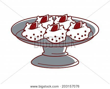 Sandesh with marmalade on metal plate isolated cartoon flat vector illustration on white background. Amazingly tasty Indian curd dessert in shape of balls. Delicious dietary vegetarian food.