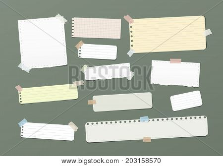 Ripped blank, ruled note, notebook, copybook paper strips stuck with colorful sticky tape on green background