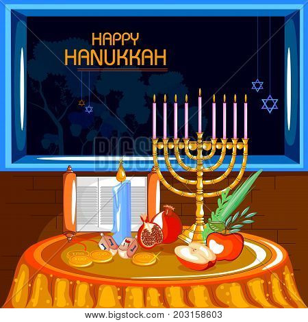 easy to edit vector illustration of Happy Hanukkah for Israel Festival of Lights celebration