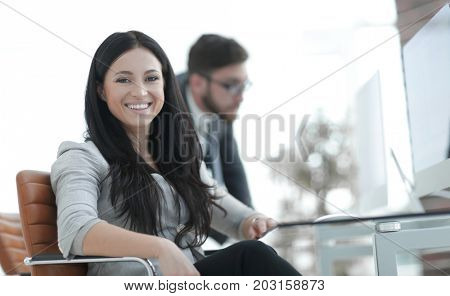 attentive business woman working with documents