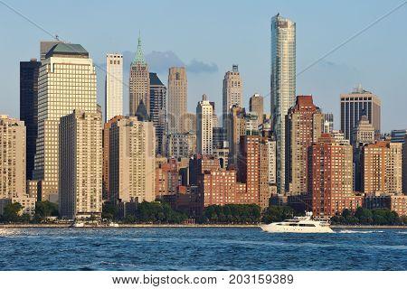 Manhattan Skyline over Hudson river New York City