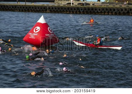 Fredericia Denmark - September 3 2017: Triathletes swimming the triathlon competition Challenge Denmark in Fredericia Harbor close to the marker buoy in the Old Harbour.