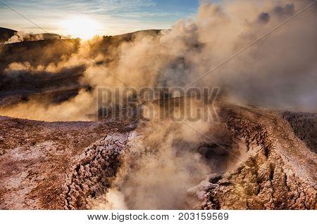 Geysers Sol De Manana In Altiplano, Bolivia