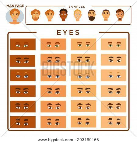 Man face constructor with samples and eyes set. All skin tones, shape of eyes, eyebrows of various thickness and whole male face examples with beard or shaved isolated cartoon vector illustrations.