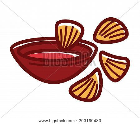 Full clay bowl of hot chili sauce with crispy nachos isolated cartoon flat vector illustration on white background. Snack of Mexican cuisine, chips from corn tortilla with various additives.