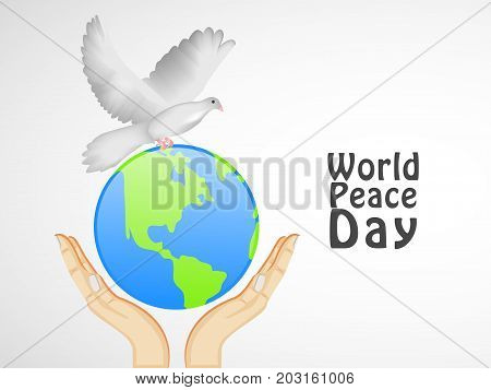 illustration of Hands, Earth and Pigeon with World Peace Day text on the occasion of World Peace Day