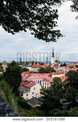 antique building view in Old Town Tallinn, Estonia