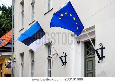 Flag of Estonia. Tallinn, Estonia
