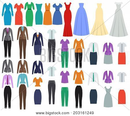 Clothes for women. Business casual and evening clothing in flat design. Set of dresses and garments. Vector illustration