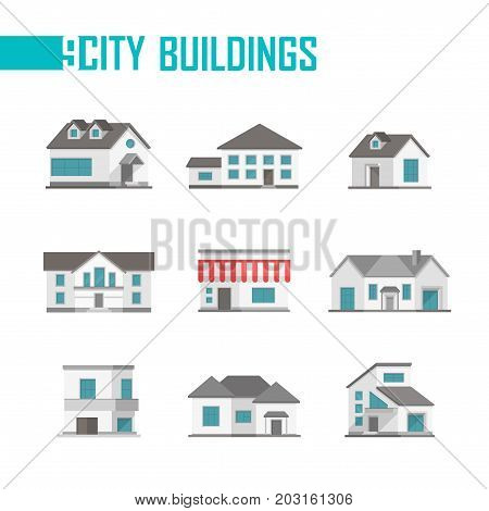 Nine low-storey city buildings set of icons - vector illustration on white background. Cottages with nice facades. Various shapes of roofs and windows. Grey and blue color