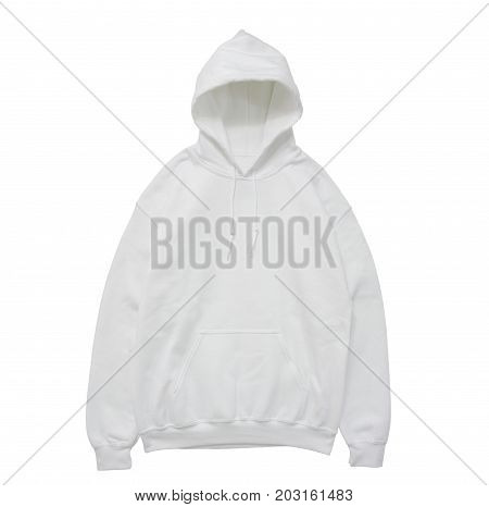 blank hoodie sweatshirt color white front view on white background