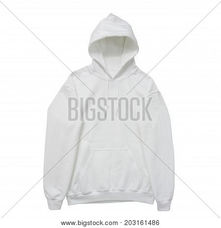 blank hoodie sweatshirt color white front arm view on white background