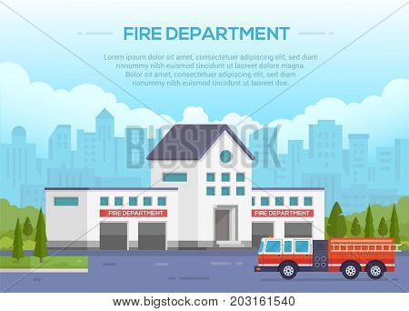 Fire department - modern vector illustration with place for text. Urban background. Nice park around. Blue sky with clouds. Fire-engine with ladder on the road