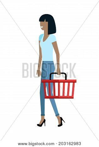 Woman customer character vector template. Flat design. Buyer in grocery shop. Smiling girl with basket in hand walking on white background. Consumer choice and shopping in mall concept.