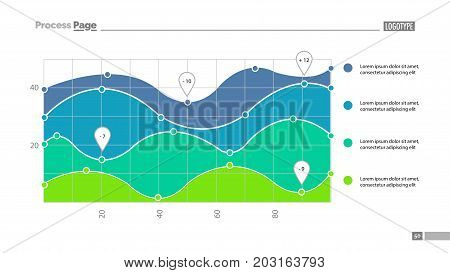 Four area chart with scatter plot slide template. Element of chart, analysis, statistics. Concept for presentation, templates, annual report. Can be used for topics like business, marketing, trade