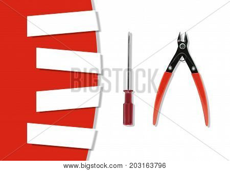 Group of Tools an used in hobby jobs for craftsman with copy space. Tools on white and red background Pliers,Screwdriver